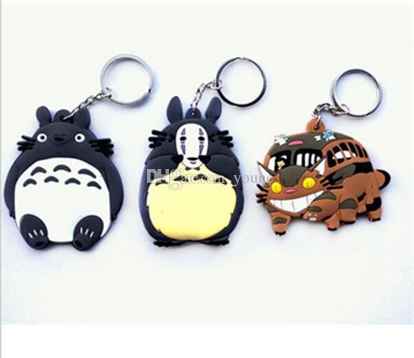 Hot!Mixed Anime My Neighbor Totoro Figurine Toys Bus Totoro Figuras Keychain Keyring Pendant Double sided Design