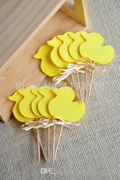 Cheap Gender Neutral Baby Shower Decorations Yellow Duck Cupcake
