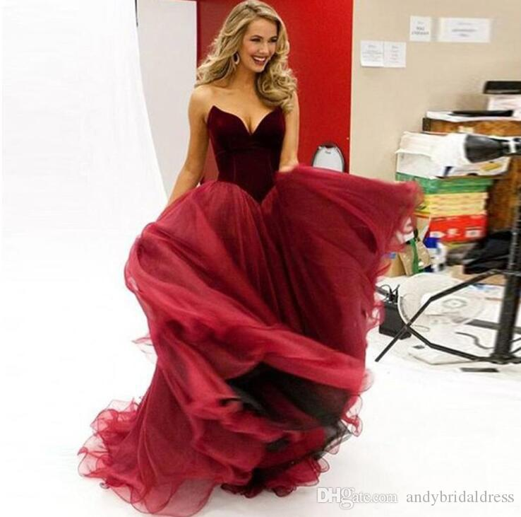 Fashion Vestidos De Festa Elegant Prom Dress With Tulle Sweetheart Off The Shoulder Red Wine Prom Dresses Party Ball Gowns