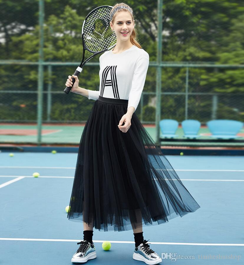 Cheap Ball Gown Skirts For Women Tulle Long Skirt Adult Women Tutu Skirts Lady Formal Party Skirtsc