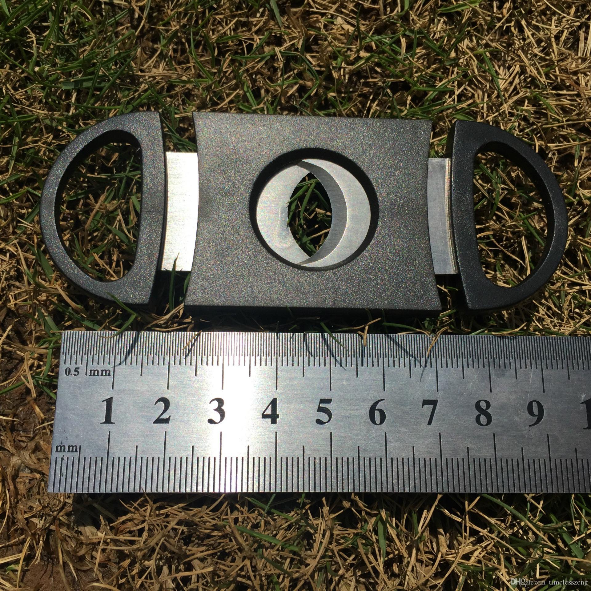 Cep plastik paslanmaz çelik çift bıçakları puro kesici Sözleşmeli tarzı siyah puro makas Puro aksesuarları Ücretsiz kargo