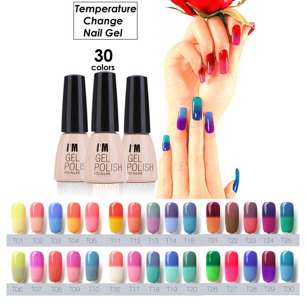 Wholesale- Pro 30 Colors Nail Manicure Polish Gel 7ml Waterproof Lasting  Bright Colorful Temperature Change Nail Gel