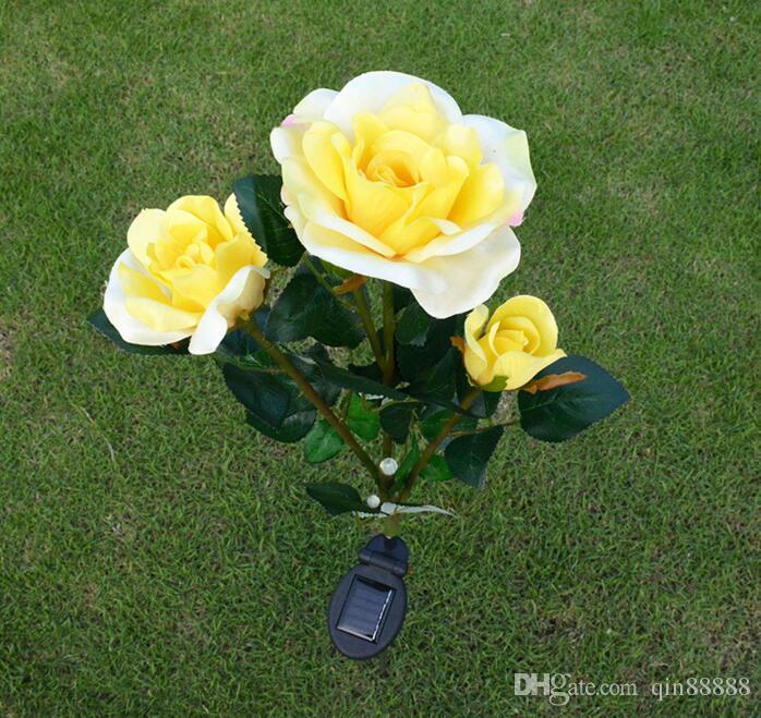 야외 정원 경로 야드 장식 장미 꽃 램프 교체 LED 태양 광 정원 조명 LED 태양 광 꽃 정원 지분 연한 색