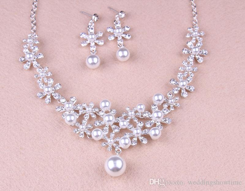 Rhinestones Pearls Wedding Bridal Jewelry Cheap Bridal Jewelry Set 2017 Bridesmaid Crystal Jewelry For Party Necklace & Earrings & Tiaras