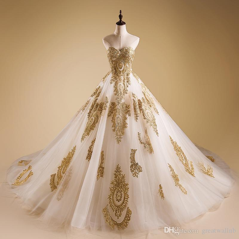 100 Real Golden Embroidery Flower Wedding Ball Gown