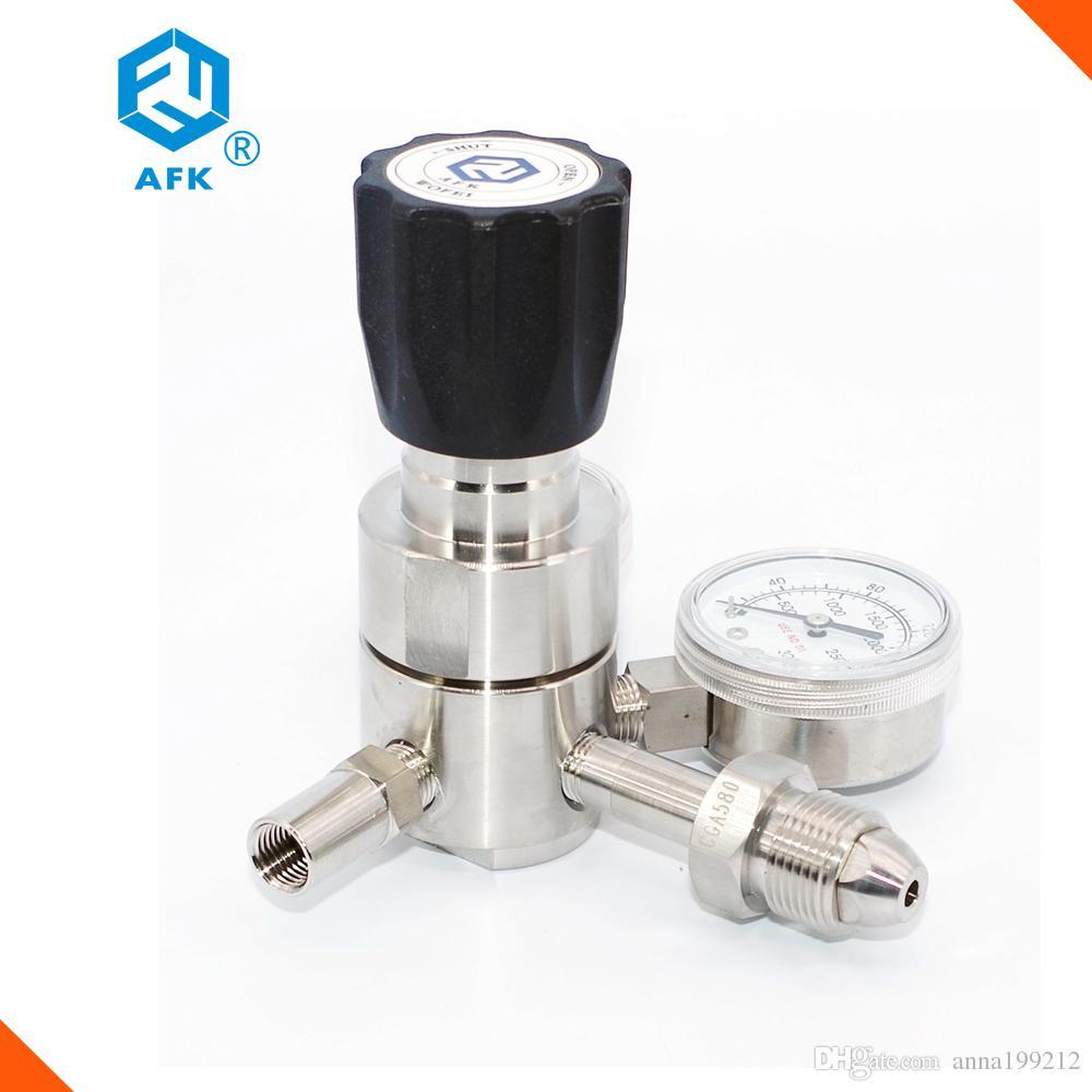 AFK Inox 316L Piston Détendeur haute pression co2 avec soupape de surpression et CGA580