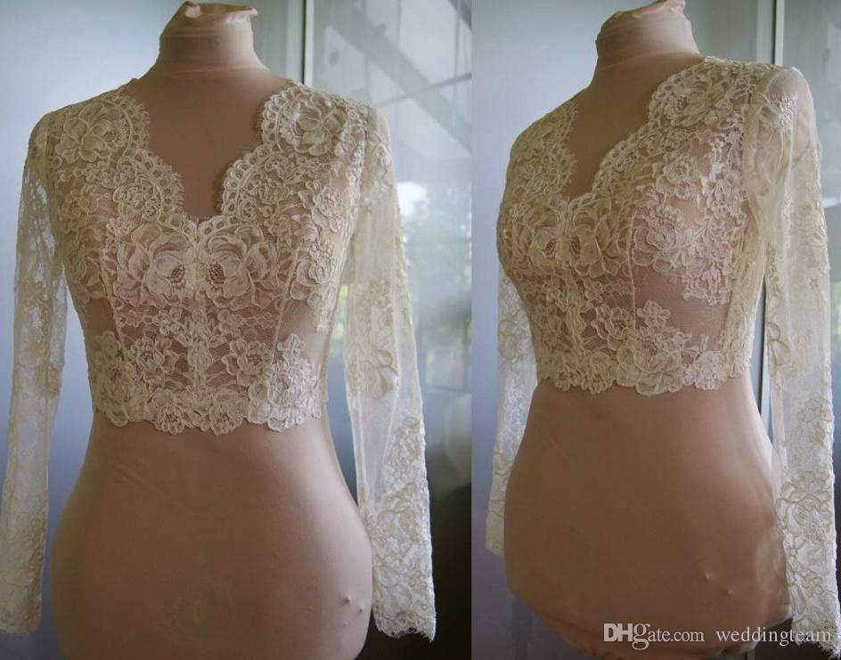 High Quality Long Sleeves Wedding Bolero Jacket Lace Ivory