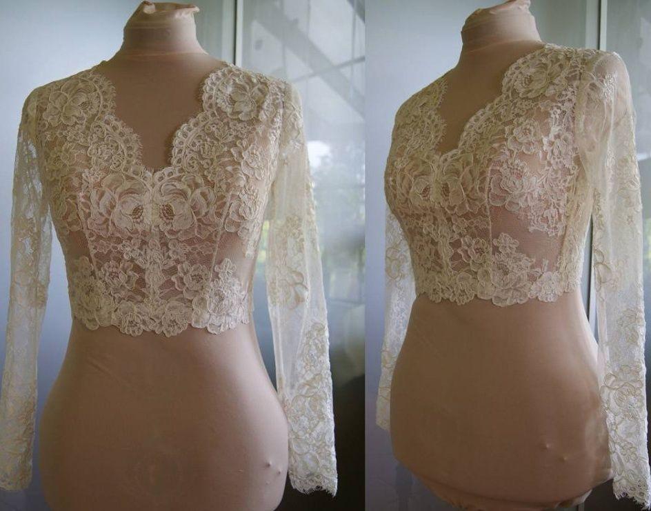 Yüksek Kalite Uzun Kollu Düğün Bolero Ceket Dantel Fildişi V Yaka Custom Made Sheer Düğün Sarar Omuzlarını Silkiyor Düğmeler Geri Gelin Çaldı