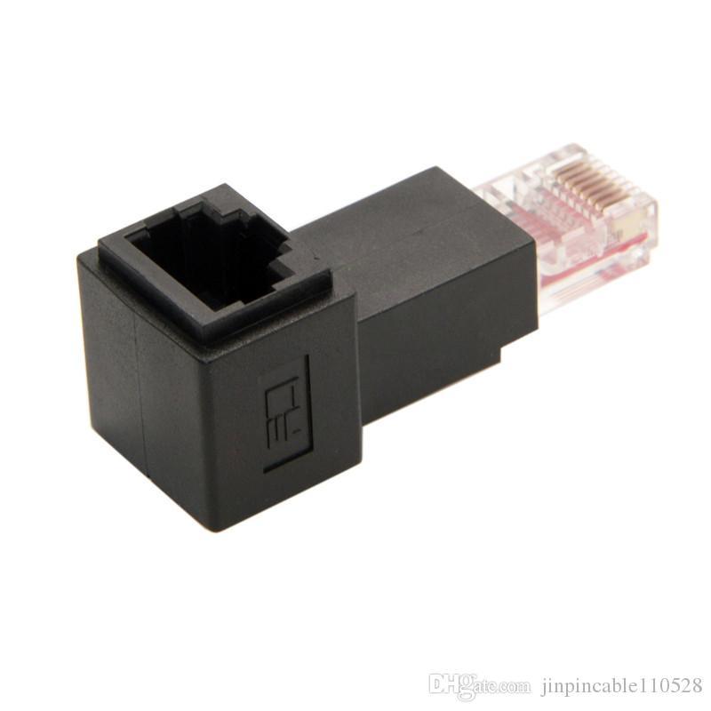 Açılı 90 Derece Up 8P8C FTP STP UTP Kedi 5e Erkek Kadın Lan Ethernet Ağ Uzatma Adaptörü