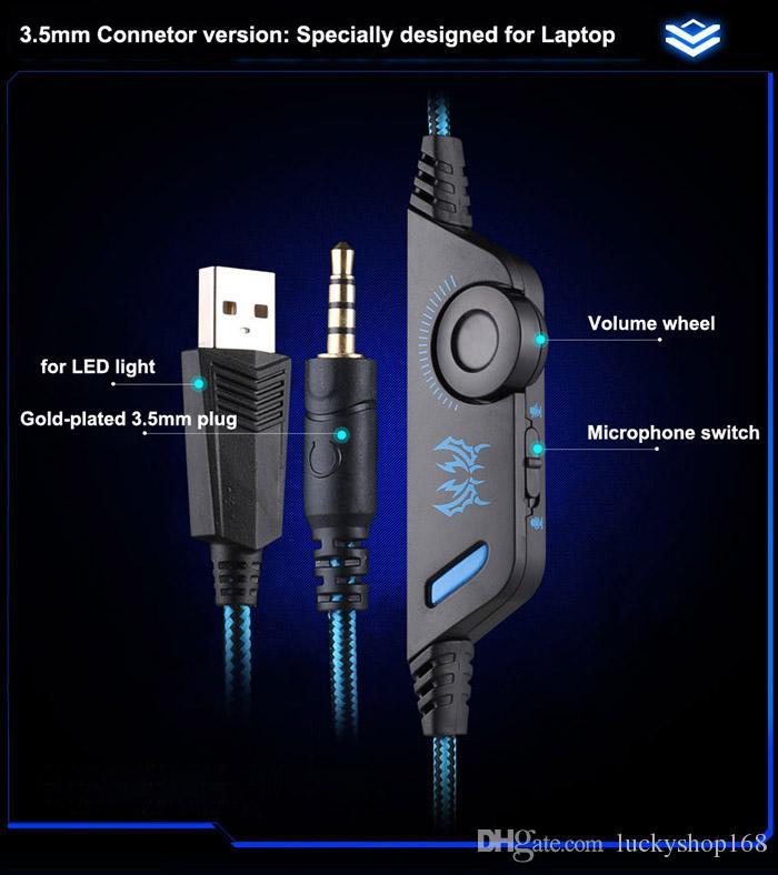 Nouveau Kotion Pas Cher Chaque G9000 Gaming Casque Casque 3.5mm Stéréo Jack avec Micro LED Lumière pour PS4 / Tablet / Ordinateur Portable / Téléphone portable DHL