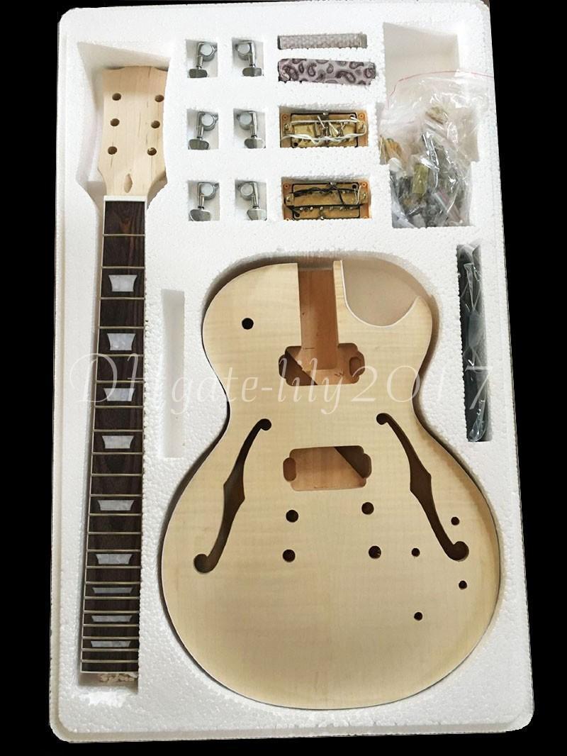 2017 Factory custom shop Guitarra eléctrica de alta calidad Kit de bricolaje Conjunto Cuerpo de caoba Cuerpo de palisandro Aleación de níquel Cadena