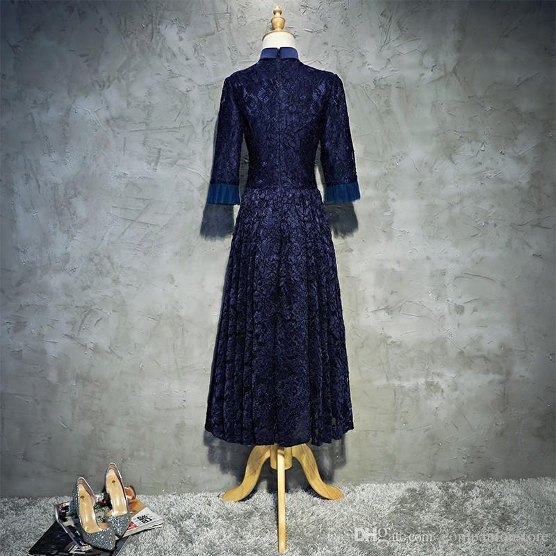 In Stock Navy Blue Full Lace High Neck Three Quarter Sleeve Zipper With Appliques Beaded Ankle Length Ball Gown Mother of The Bride Dress