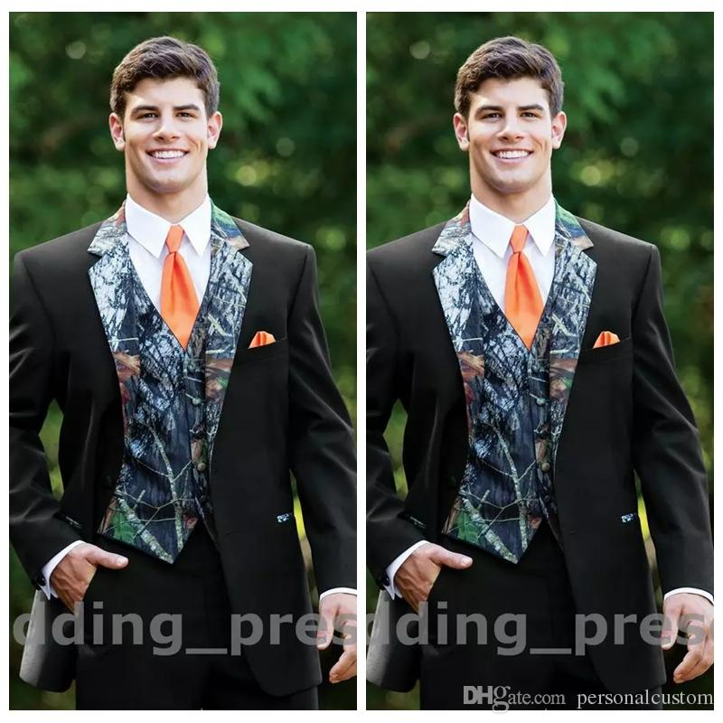 2017 Top Camouflage Tuxedos Custom Made Button Camo Mens Wedding Suits Notched Lapel Groom Wear Prom For Men Jacket Pants Vest Tie Black Tuxedo