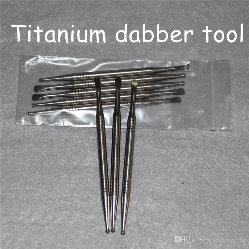 Titanium Dabbers Gr2 Ti Nail Dabbing Tool Short Titanium Dab For Glass Bongs Glass Water Pipe Wax Dry Herbal Vaporizer Pen Ti Dabber