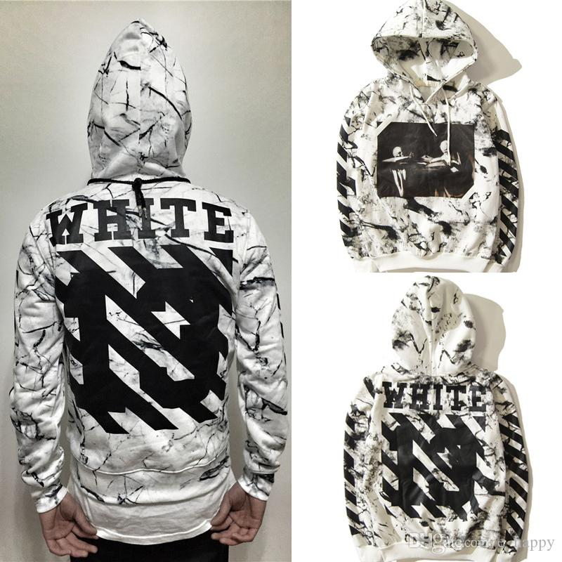 2018 Off White Diagonal 13 Caravaggio Hoodie Men'S White Pullover ...
