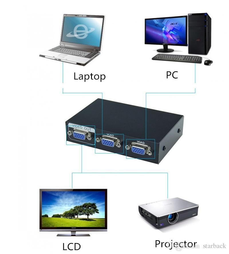 2 порта 2 в 1 выход VGA SVGA-монитор Общий доступ к селектору Переключатель пульта дистанционного управления для ЖК-телевизора Монитор ПК
