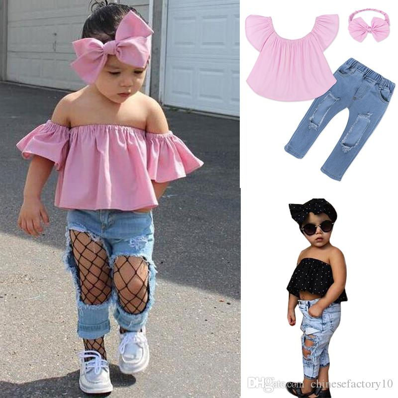 01af72892342 2019 Summer Girls Outfits Short Sleeve Tube Top + Jeans + Bow Headband Sets  Girl Off Shoulder Shirts   Ripped Jeans Pants Clothing Sets From ...