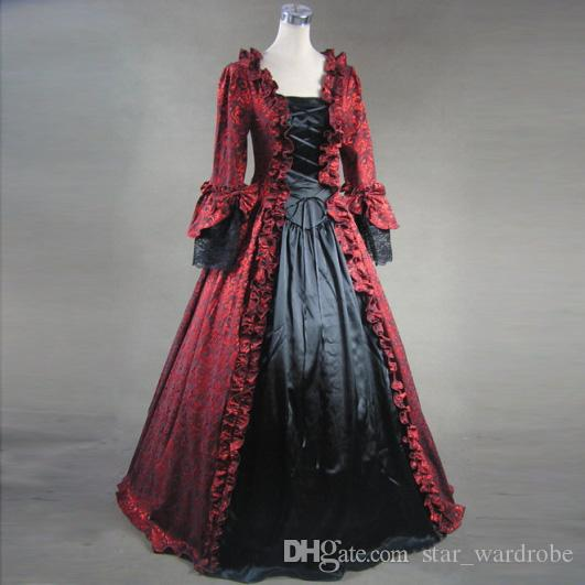 332eaa675f Brand New 2017 Red And Black Victorian Dress Wedding Gown Party Period  Reenactment Clothing Brocade Pattern Print Vintage Party Dress Custom UK  2019 From ...