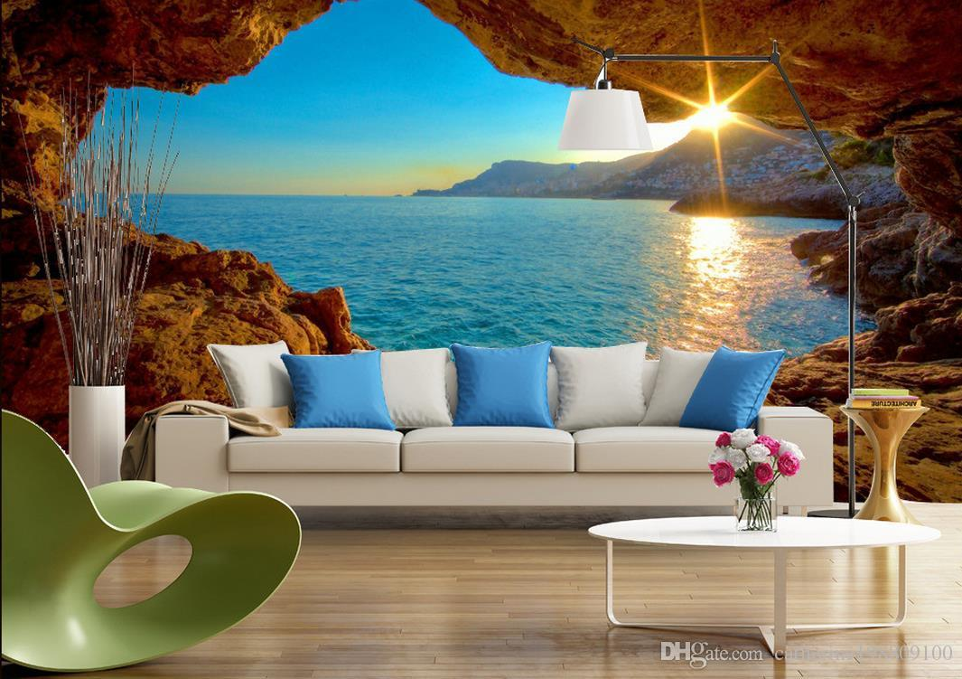3d space sunrise sunrise modern tv background wall mural for Wallpaper for lounge wall