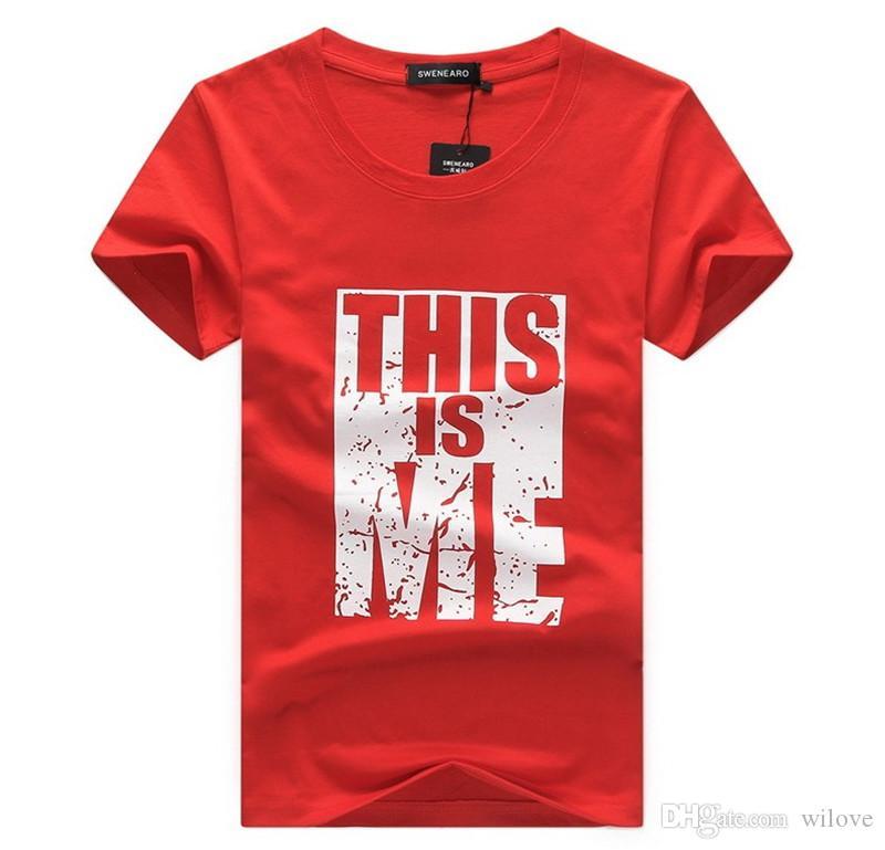 Camisetas impresas camiseta de algodón de los hombres del verano del algodón de manga corta letra superior impresa camisetas más el tamaño de moda camisetas ropa de hombre delgado
