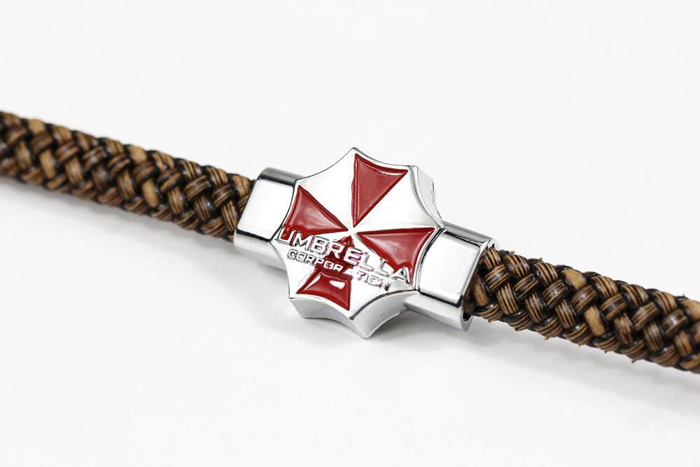 Movie series Resident Evil bracelet red umbrella leather bracelet fashion jewelry knitted bangle charm bracelets for women men