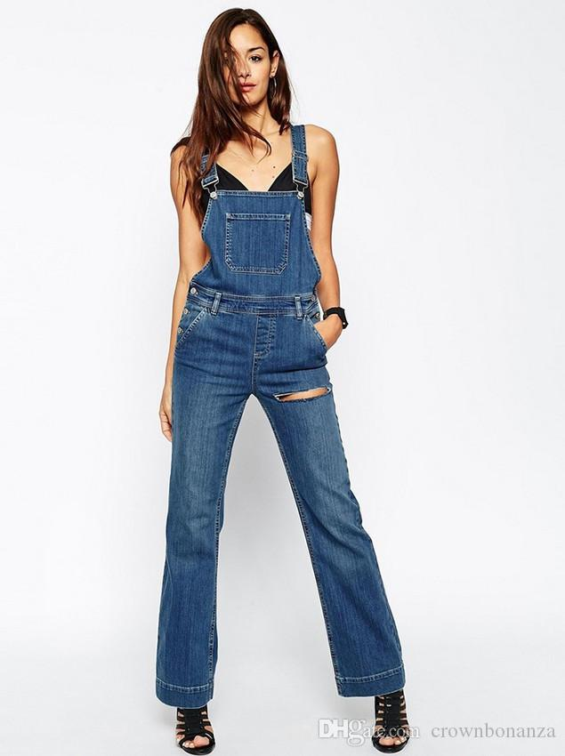 Fashion new Women's Washed Denim Casual Hole Romper Jumpsuit Overalls Jeans Macacao Feminino Vintage Ripped Jeans