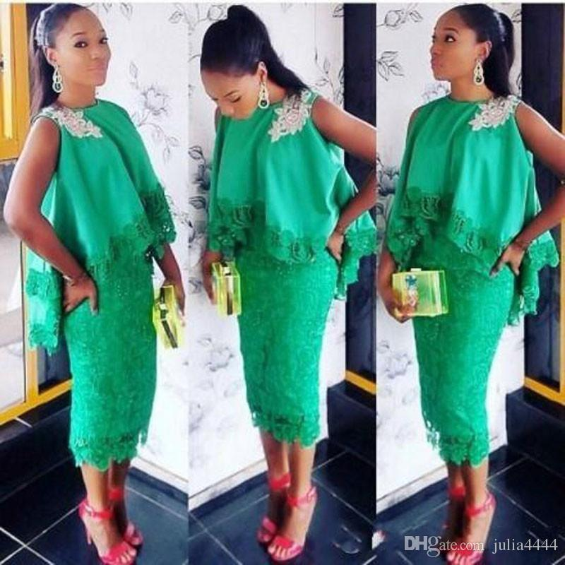 Aso Ebi Style Women Chic Cocktail Dresses Green Lace Tea Length Applique Formal Gowns with Cloak 2017 Sheath Short Prom Dress