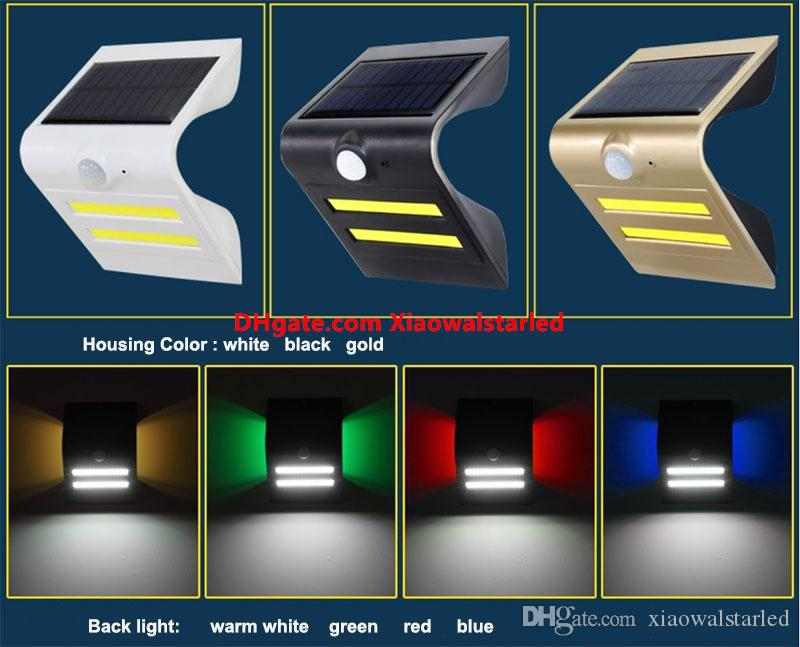 Nowe światła słoneczne COB LED Bezprzewodowy czujnik ruchu PIR Światło zewnętrzne do dla ogrodu ogrodu na tarasie patio z ruchem aktywnym Auto On Off