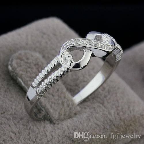 new ring big large size 5~ 10 design fashion 925 Sterling Silver Love Infinity Infinite Knot ladies endless finger ring modern jewelry