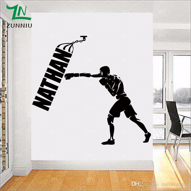 Boxing Boxer Man Personalized Customer Name Wall Stickers For Boys Rooms Gym Home Vinyl Decals For Kids Room Decor 53*58 cm