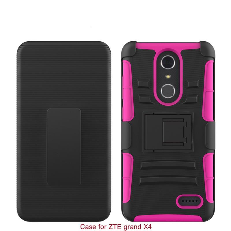 Hard Back Cover Combon Case With Kickstand For ZTE Grand X Silicone 2 IN 1 Anti-shock Slim 100% Fitted Shell Protector
