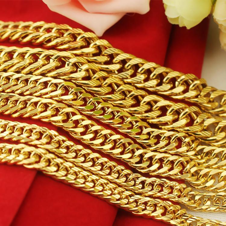 Hip Hop Pesado 24 K Ouro Cheias Cadeias Mens 8-12 MM Miami cubano longo elo da cadeia dupla fivela colares para o homem s rapper jóias