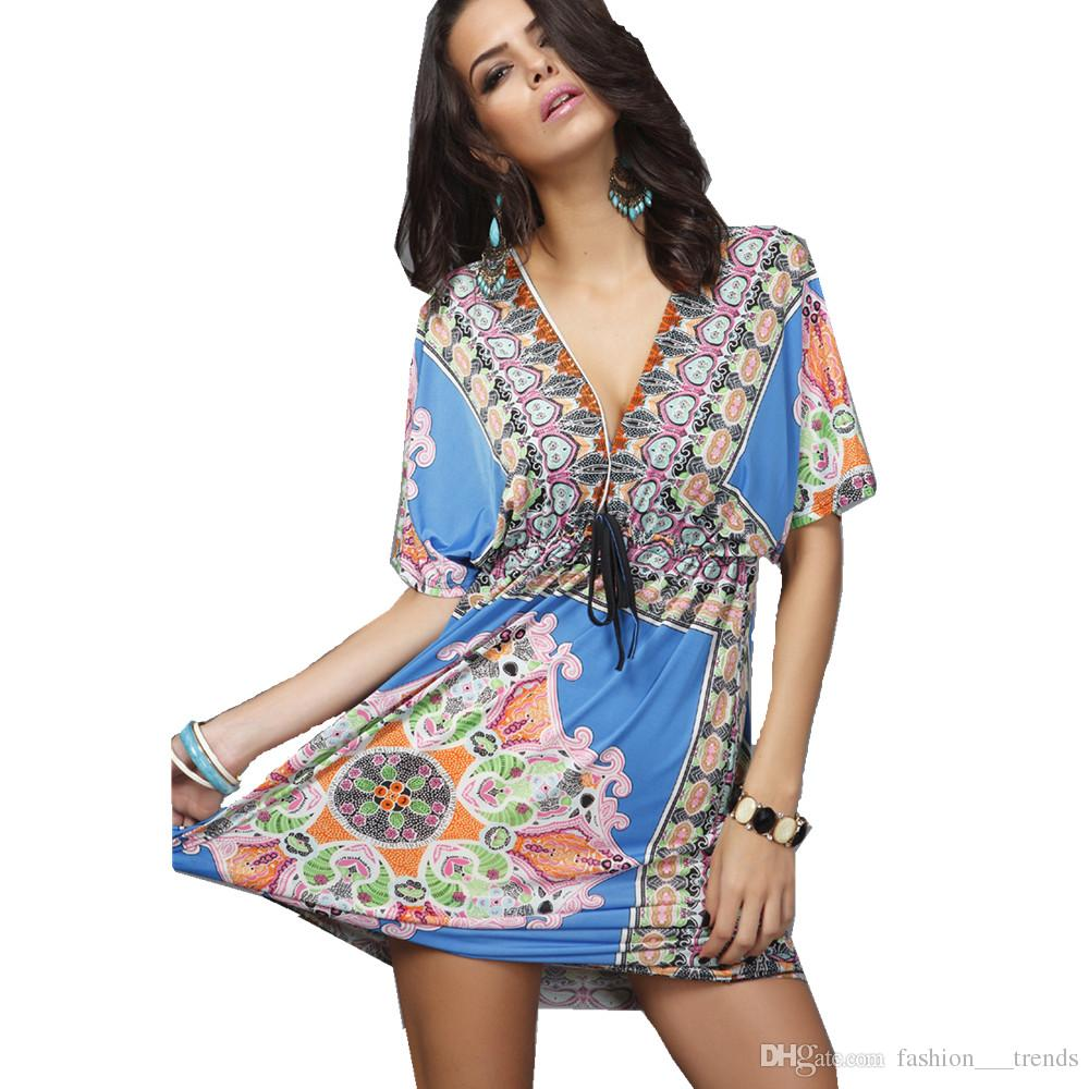 4755c1c482 2017 New Women S Hot Sale Fashion Summer Bohemian Style Dress Sexy Deep V  Neck Backless Sundresses Ethnic Floral Print Tunic Beach Dresses Night Dress  Sun ...