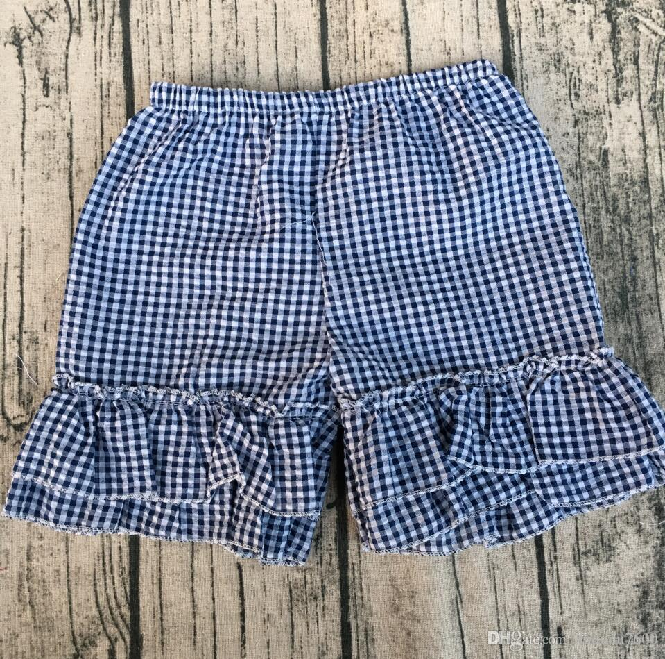 Seersucker Black Plaid Shorts 2 Layer Ruffle Summer Cute Girls ...