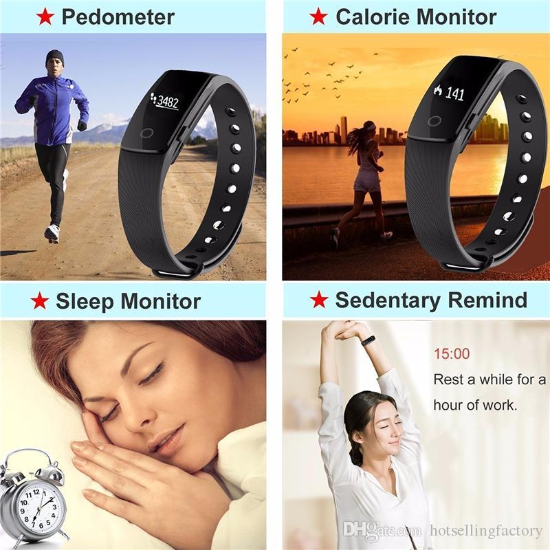 Fitbit smart watch id107 bluetooth 4.0 pulseira inteligente com monitor de freqüência cardíaca rastreador de fitness esportes relógios de pulso para android ios 7.1 telefone