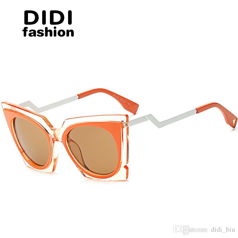 a11f92224d07 DIDI 2017 Triangle Twisted Sunglasses Women Cat Eye Steampunk Gothic Glasses  Transapret Frame Luxury Eyewear Brands Celebrity Party W642 Baby Sunglasses  ...