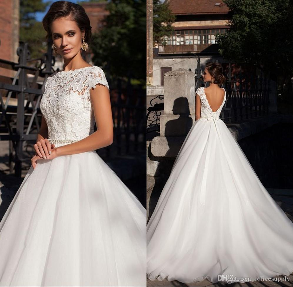 Lace Wedding Dresses with Beaded Sash 2017 Vintage Open Back Short Sleeves  Plus Size Puffy Bridal Gowns Online with  181.97 Piece on Officesupply s  Store ... 2bf8ec754fc2