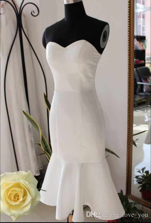 Satin Mermaid Sweetheart Zip Back Country Bridesmaid Tea Length Maid of Honor Wedding Guest Dresses
