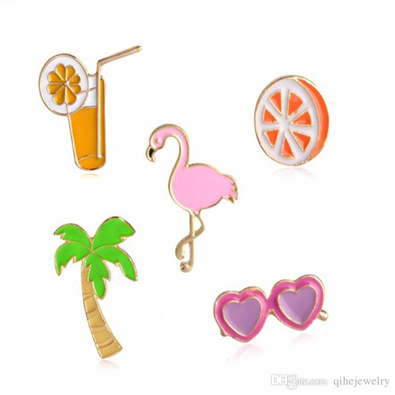 Meyve Broş Pin Hindistan Cevizi Portakal Suyu Kalp Güneş Gözlüğü Pembe Flamingo Broşlar Yaka Iğneler Gömlek Yaka Ceket Paket Çanta Dekor