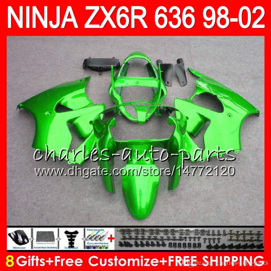 8Gifts For KAWASAKI NINJA ZX6R 98 99 00 01 02 ZX636 ZX-6R ZX-636 gloss green 31NO25 600CC ZX 636 ZX 6R 1998 1999 2000 2001 2002 Fairing kit