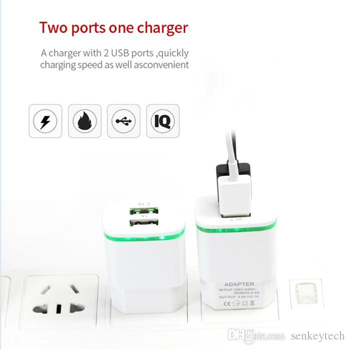 Hot sale LED Lighting USB charger adapter 2 USB ports 5V 2.1A & 1A cell phone travel wall chargers for samsung iphone sony ipad