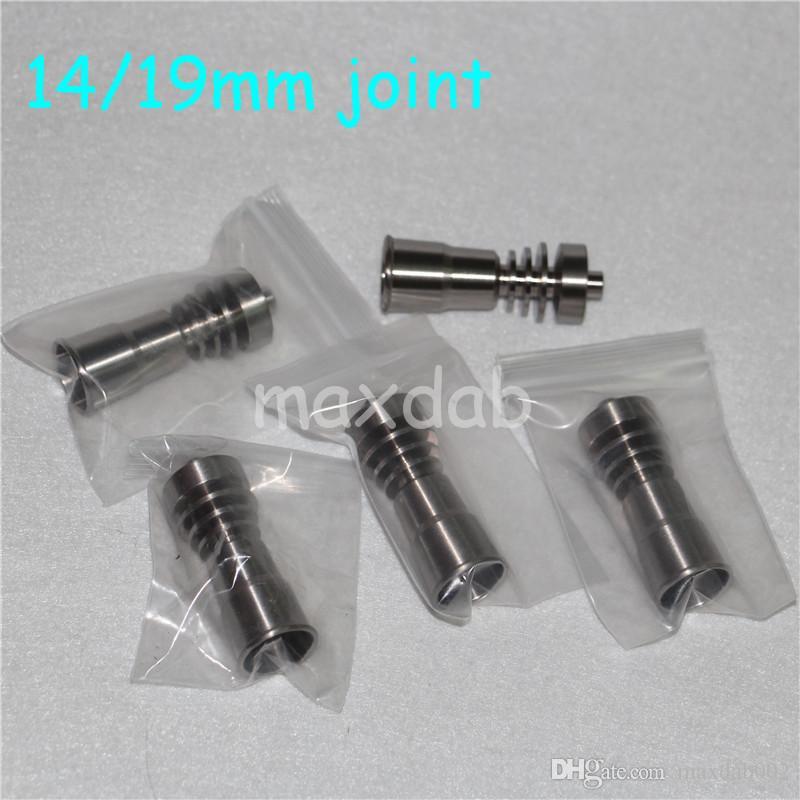 Toptan gr2 titanyum tırnak 14mm19mm Ortak Kubbesiz Titanyum Tırnak Kadın cam bong nector toplayıcı ile ücretsiz kargo