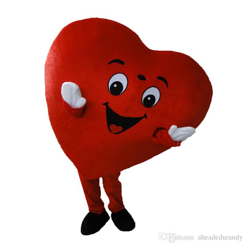 Cuore rosso del costume adulto della mascotte di amore del costume della mascotte di dimensione adulto del costume della mascotte