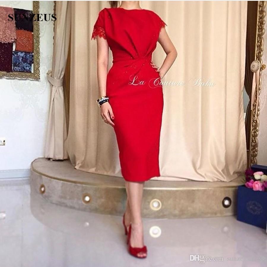 Élégant Dames Robes De Soirée Rouge Droite Jewel Cap Manches Longueur De Thé Formelle Robes De Fête Portant Avec Des Perles Appliques