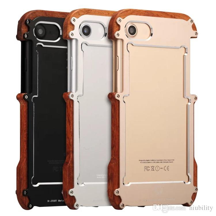 R-JUST Ironwood Phone Case For iphone 7 6 6S 6S plus Lunatic Shockproof Aluminum Gorilla Glass Metal Case Cover