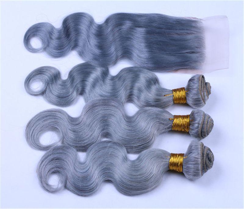 Vague de corps gris cheveux indiens de Vierge tisse avec la fermeture de lacet 3 faisceaux de cheveux humains gris purs avec la fermeture supérieure avec les cheveux de bébé