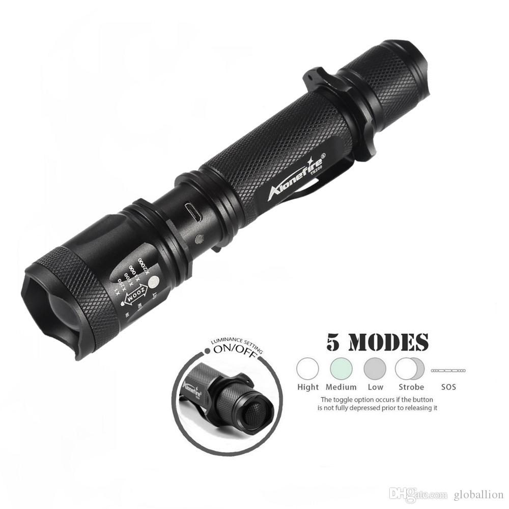 AloneFire TK200 USB Flashlight LED CREE XM-L2 Tactical Torch Zoomable Powerful Light Lamp Lighting For USB Charger