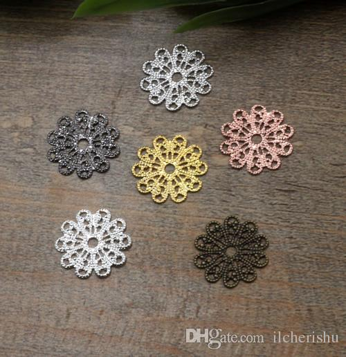 15mm antique bronze/silver/rose gold/gun black Copper filigree flower charms for jewelry making, flatback metal bracelet pendants findings