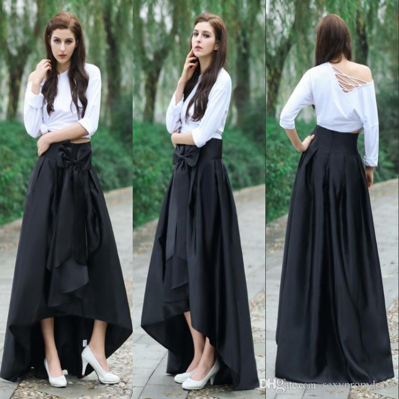 Compre Falda Negra Alta Baja Con Lazo En La Cintura Nueva Moda De Tafetán  Con Volantes Mujer Faldas Largas Vestido De Fiesta Formal Barato Envío  Gratis A ... 532287f5fce7