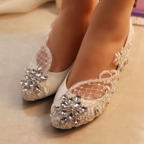 f393ed14c9d New Fathion Lace White Crystal Wedding Shoes Bridal Flats Low High ...